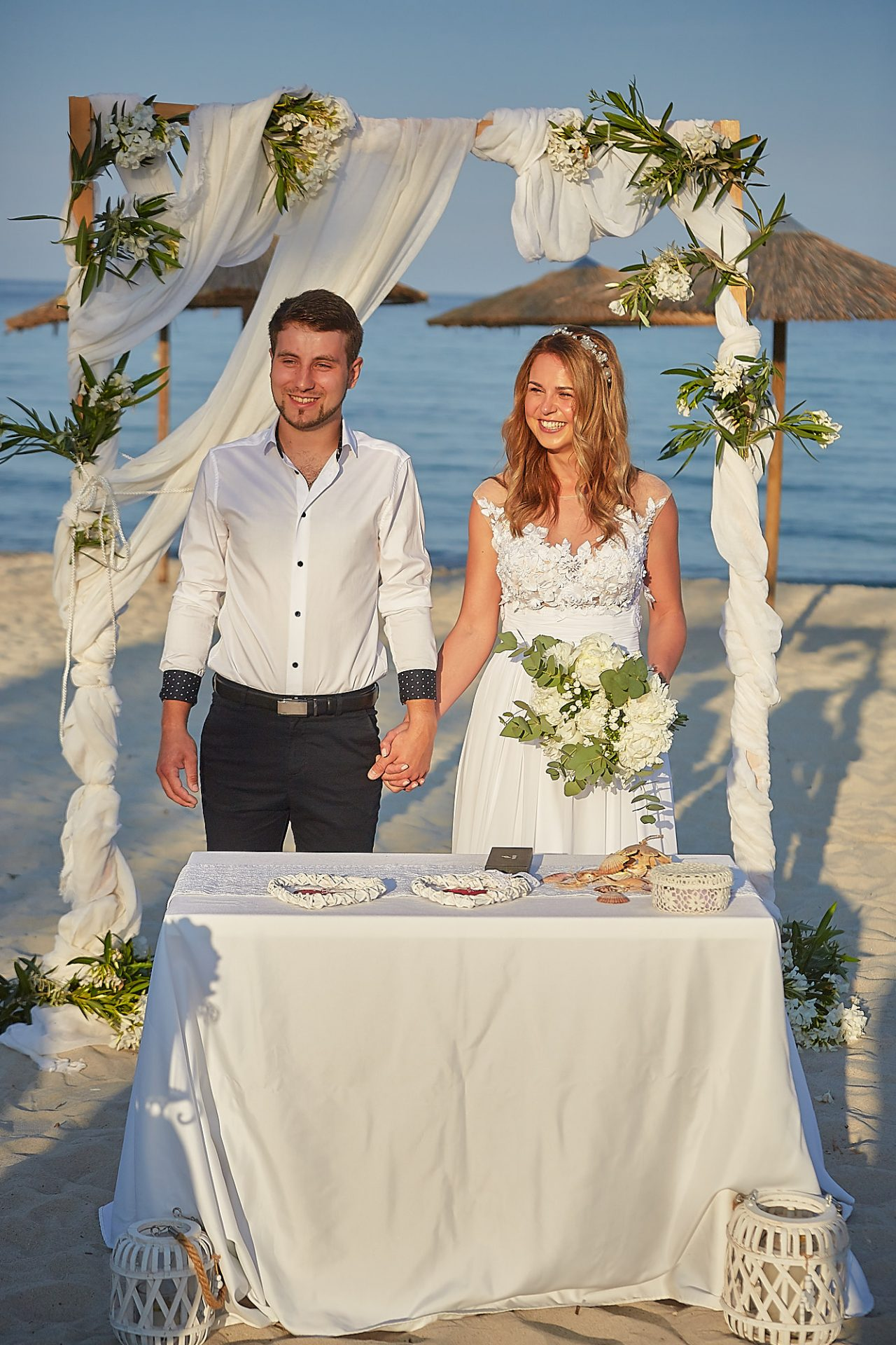 Thassos Golden Beach Wedding on the beach wedding table and decor